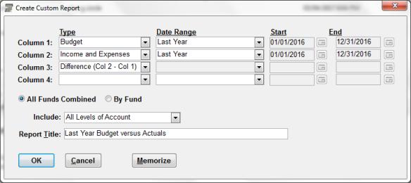 Draft ACCOUNTS Custom Reports window